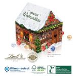 Adventskalender Weihnachtshaus mit Lindt Lindor Kugeln gefüllt und nach Wunsch bedruckt mit Logo als Werbegeschenk.