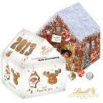 3D Adventskalender Weihnachtshaus mit Lindt Kugeln selbst gestaltet als Werbemittel.