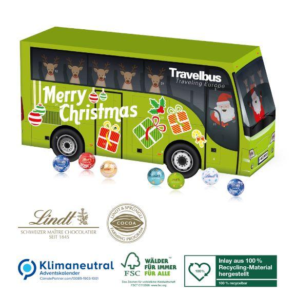 Adventskalender in Bus Form gefüllt mit Lindor Kugeln und personalisiert und individuell bedruckt nach Wunsch als Werbegeschenk.