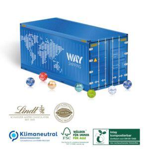 Adventskalender Container gefüllt mit Lindt Lindor Kugeln und individuell mit Logo bedruckt nach Wunsch.