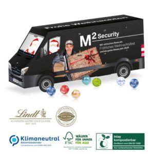 Adventskalender als Transporter in 3D gefüllt mit Lindor Kugeln und individuell bedruckt mit Logo als Werbeartikel.