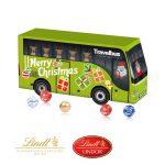 Der 3D Bus Kalender wird gefüllt mit 24 Lindor Pralinés Kugeln in 5 Geschmackssorten. Der Buskalender wird individuell bedruckt auf allen Flächen.