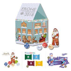 Weihnachtshaus in 3D aus Karton, gefüllt mit Markenschokolade wie Lindt, Milka, Ritter Sport oder Miniatures Mix. Das Weihnachtshaus wird individuell bedruckt.