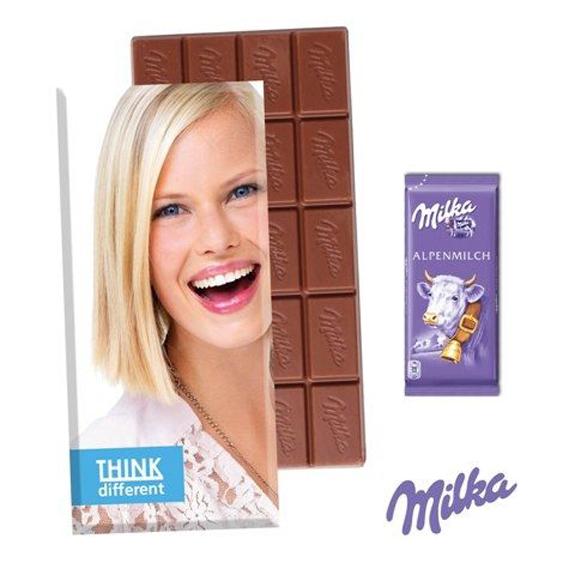 Die Schoko Tafel Milka in Faltschachtel 40g ist verpackt in einer Präsentbox mit individuellem Werbedruck. Die Milka Tafel ist 40g mit Logo bedruckt.