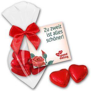 Schoko Herzen in Tüte 5er mit individuell bedruckter Werbekarte