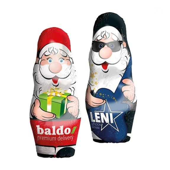 Der Weihnachtsmann 28g ist aus Vollmilch Markenschokolade. Die Folie kann individuell bedruckt werden.