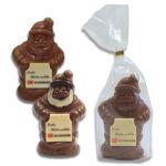 Schoko Weihnachtsmann individuell bedruckt mit Logo als Werbegeschenk.