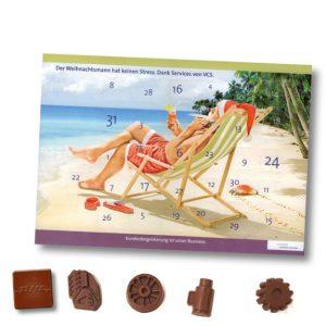 Adventskalender mit 30 oder 31 Türchen individuell bedruckt. Die Schokolade kann individuell geform oder geprägt werden nach Wunsch.