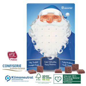 Adventskalender mit Schokolade individuell bedruckt als Werbeartikel.