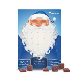 Adventskalender Classic Design mit zertifizierter Schokolade und Karton mit individuellem Druck als Werbeartikel.
