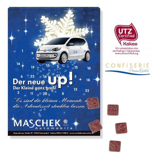Der Adventskalender Classic Design wird individuell bedruckt auf der Vorder- und Rückseite und Türchen-Innenseiten. Gefüllt mit UTZ-zertifizierter Schokolade.
