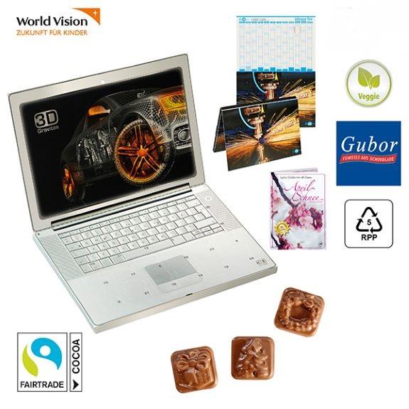 Adventskalender Cover als Buch Adventskalender oder Laptop Adventskalender und mit Jahresplaner indivudell bedruckt als Werbeartikel.
