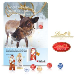 Der Adventskalender Lindt Gourmet wird auf Vorder- und Rückseite individuell bedruckt. Aber auch ein Türchen-Innendruck ist möglich. Gefüllt wird der Kalender mit Lindor-Pralinés Kugeln. Optional auch mit einem Lindt Weihnachtsmann und einem Lindt Engel.