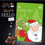 Der Adventskalender Lindt HELLO wird individuell bedruckt auf der Vorder- und Rückseite und Türchen-Innenseiten. Gefüllt ist der Kalender mit Lindt HELLO Mini Sticks in 5 Sorten.
