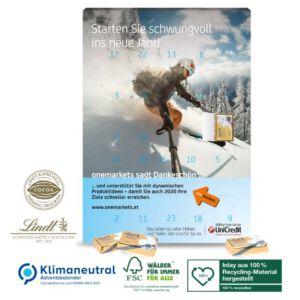 Adventskalender mit Lindt Täfelchen gefüllt und individuell bedruckt als Werbeartikel.