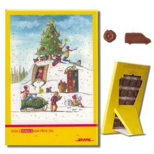 Der Adventskalender midi ist ein Tischkalender oder Wandkalender und kann individuell bedruckt werden. Auch die Schokolade kann individuell geprägt oder geformt werden nach Wunsch. Der Kalender ist recyclebar.