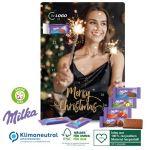 Der Adventskalender Milka wird individuell bedruckt als Werbeartikel.