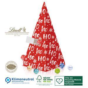 Adventskalender Pyramide mit Lindor Kugeln individuell bedruckt und personalisiert als Werbegeschenk.