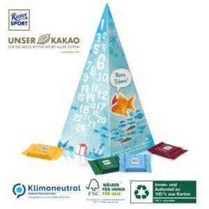 Adventskalender Pyramide gefüllt mit Ritter Sport Täfelchen und individuell bedruckt als Werbegeschenk.