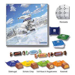 Adventskalender-Quadrat maxi mit 3 verschiedenen Füllungen wie Ritter Sport Schokowürfel, Ritter Sport mini oder Miniatures-Mix. Der Adventskalender-Quadrat kann individuell bedruckt werden auf dem Kartondeckblatt.