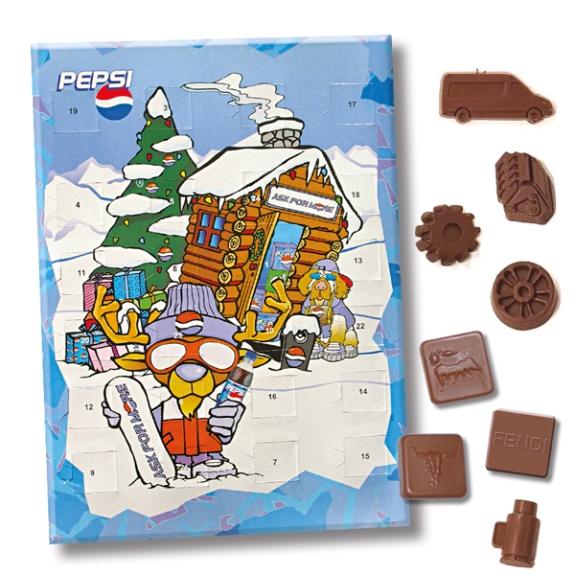 """Der Adventskalender """"Schokofüllung individuell"""" kann individuell bedruckt werden und die Schokolade nach Wunsch geformt werden."""