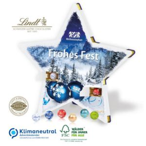 Stern Adventskalender selbst gestalten mit Bild und Logo und gefüllt mit Lindt Lindor Kugeln.