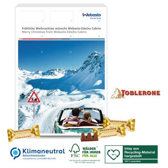 Adventskalender mit Toblerone gefüllt und personalisiert und individuell bedruckt nach Wunsch als Werbeartikel.