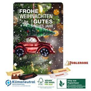 Adventskalender mit Toblerone befüllt und individuell bedruckt nach Wunsch als Werbeartikel.