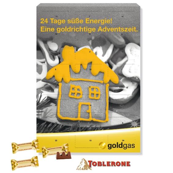 Der Adventskalender Toblerone kann individuell bedruckt werden. Gefüllt ist der Kalender mit Toblerone Schokolade in 3 Sorten.