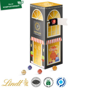 Adventskalender Tower gefüllt mit Lindor Kugeln und individuell bedruckt als Werbeartikel.