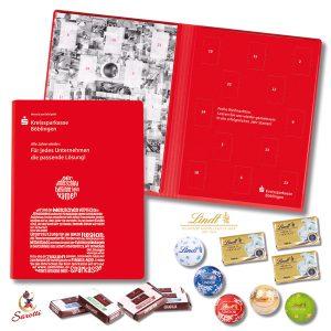 Adventskalender Buch mit Schokolade gefüllt und individuell bedruckt mit Logo als Werbeartikel.