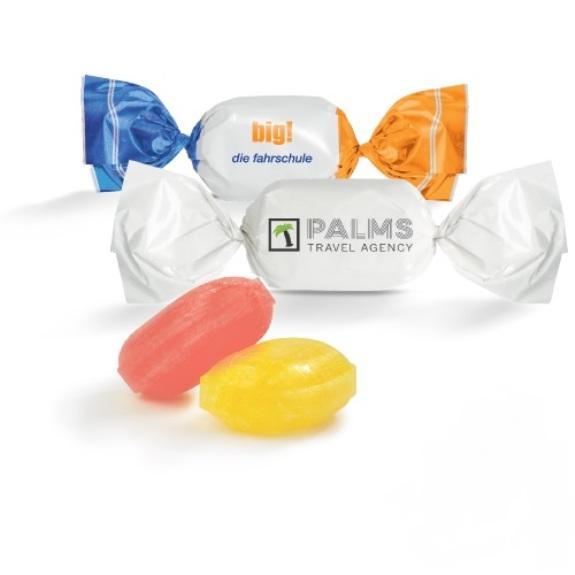 Bonbons mit logo im weißen Wickler individuell bedruckt.