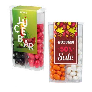 Die Box like Tic Tac ist gefüllt mit 45g Frucht- oder Mintpastillen like Tic Tac. Die Pastillen können zu ein oder zwei Farben in die Box gefüllt werden. Die Box kann individuell bedruckt werden auf einem Klebeetikett.