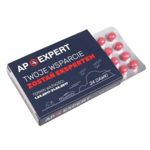 Süssigkeiten Medikamentenverpackung mit Pillenblister individuell bedruckt als Werbeartikel.