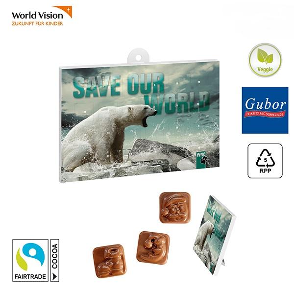 Classic Tisch Adventskalender mit Gubor Schokolade individuell bedruckt als Werbeartikel.