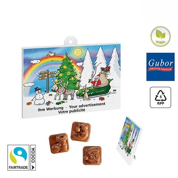 Classic Tisch Adventskalender gefüllt mit Gubor Schokolade und mit einem Standardmotiv versehen und mit Logo bedruckt.