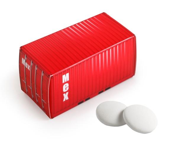 Die Container Box Pfefferminz ist gefüllt mit 26g Pfefferminzpastillen. Die Conatiner Box kann auf allen Seiten individuell bedruckt werden.