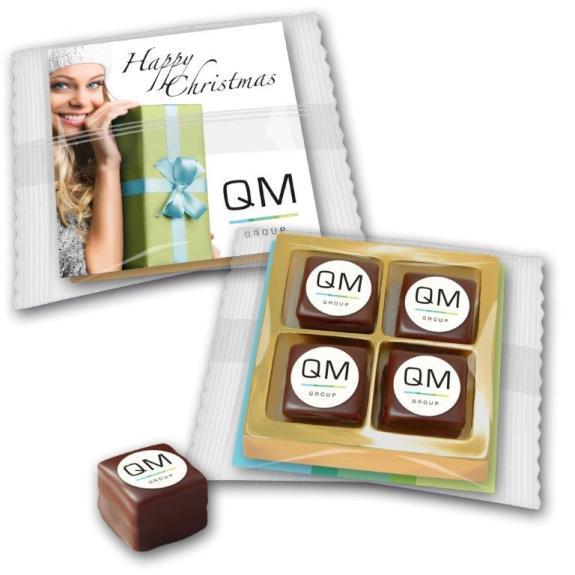 Dominosteine mit Logo verpackt zu 4 Stück im Blister in transparenter Folie. Eine individuell bedruckte Karte wird mit in die Verpackung gelegt.