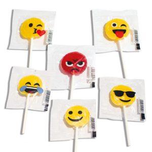 Flachlolly mit Standardmotiven Emoticons in verschiedener Ausführung aufgedruckt auf der Folie.