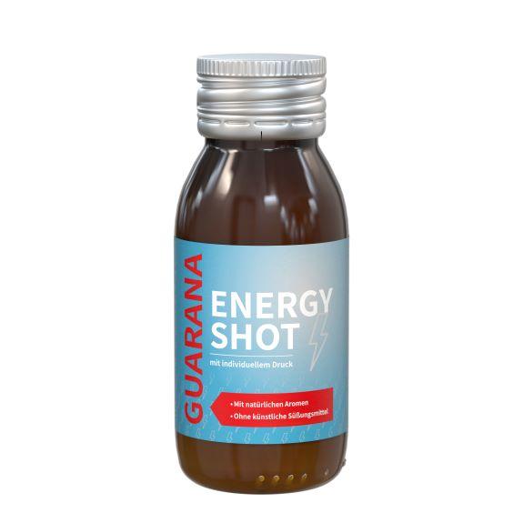 Veganer Energy Shot in brauner Flasche individuell bedruckt als Werbeartikel.