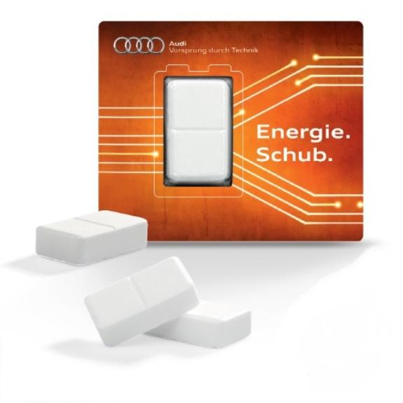Die Energiekarte mit Traubenzucker ist gefüllt mit einem Traubenzuckerwürfel mit Vitamin C in Apothekenqualität und Frischeblister. Die Karte kann individuell bedruckt werden nach Wunsch.