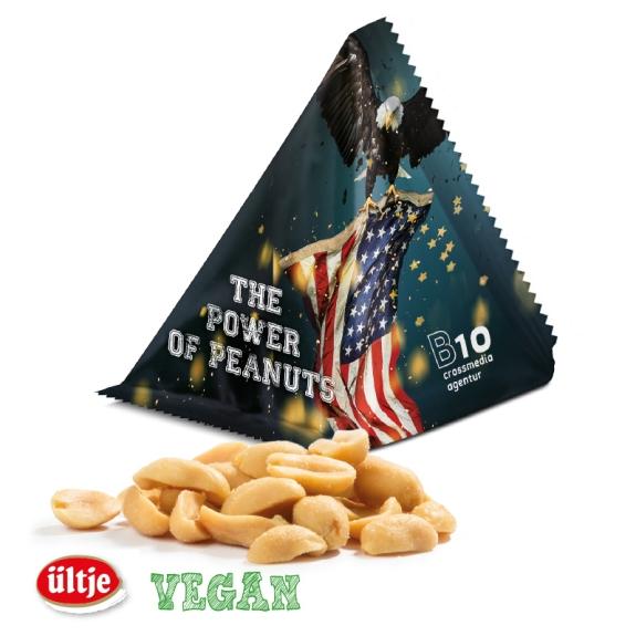 Die Ültje Erdnüsse im Tetraeder sind vegan, geröstet und gesalzen. Weiterhin sind sie verpackt in weißer oder silbernen alubedampfen Aromaschutzfolie in Tetraederform. Die Folie kann individuell bedruckt werden.