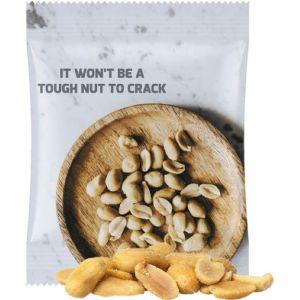 Erdnüsse im Tütchen als Werbeartikel individuell bedruckt mit Logo und Werbebotschaft.