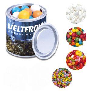 Farbdose mit süßer Füllung individuell bedruckt auf der Dose.