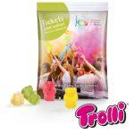 Fruchtgummi Maxi Tüte Trolli 50g mit Werbedruck auf weißer oder transparenter Folie. Gefüllt mit vielen Fruchtgummi Standardformen der Marke Trolli.