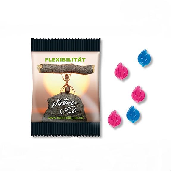 Fruchtgummi Power Blitz 10g mit Werbedruck auf der Folie. Fruchtgummi mit Taurin Koffein und Vitamin C verpackt zu 10g