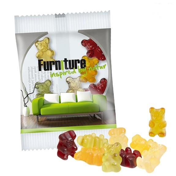 Fruchtsaftbärchen in Werbetüte mit individuellem Werbedruck auf der Folie. Mit 25 Prozent Fruchtgehalt und farblich sowie geschmacklich bunt gemischt sind die Fruchtsaftbärchen verpackt in weißer oder transparenter Folie mit Werbedruck.