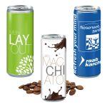 Getränke Dosen mit Werbedruck nach Wunsch komplett auf der Dose als Werbeartikel.