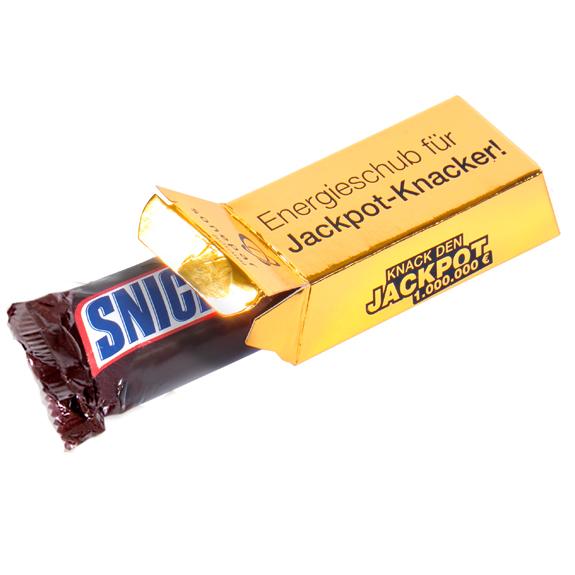 Die Goldbarren Box ist gefüllt mit Mini Snickers Mars Twix Milky Way oder Mini Mix. Die Goldbarrenbox kann individuell bedruckt oder geprägt werden.