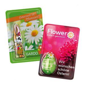 Gubor Sweet Card Ostern mit individuellem Druck auf dem Deckblatt und Schoko Osterhase von Gubor mit Standardmotiv oder individuell bedruckt.
